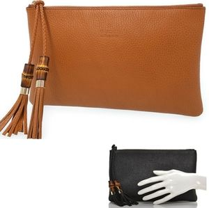 Gucci Leather Bamboo Tassel Zip Clutch Pouch